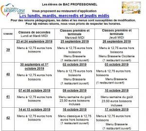 Lycees Jacques Coeur Bourges Le Restaurant D Application